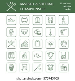 Baseball, softball sport game vector line icons. Ball, bat, field, helmet, pitching machine, catcher mask. Linear signs set, championship pictograms with editable stroke for event, equipment store