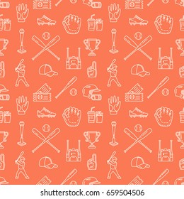 Baseball, softball sport game vector seamless pattern, background with line icons of balls, player, gloves, bat, helmet. Flat signs for championship, equipment store.