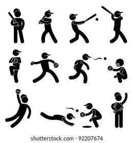 Baseball Softball Swing Pitcher Champion Icon Symbol Sign Pictogram