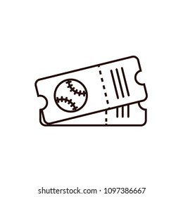 Baseball or softball ticket thin line icon on isolated background. Base ball card sign, symbol, pictogram, design element in outline style.