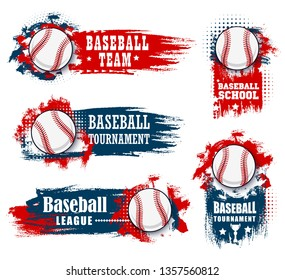 Baseball sport banners with halftone blue and red background. Vector baseball sport championship cup, college team tournament and university league flag with softball ball and champion stars