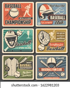 Baseball sport fun clubs and equipment, rent, sale. Vector flying ball and player, sporting items and sportsman uniform. vintage style championship tournament cards, player with bat and glove