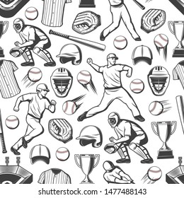 Baseball sport game players seamless pattern background. Vector balls, bats and winner trophy cups, stadium play field, catcher gloves and masks, team uniform jersey t-shirts, caps and pitcher helmets