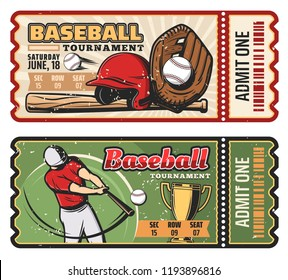 Baseball sport game retro tickets for championship or tournament. vector vintage design of baseball player with bat and ball or golden victory cup and safety helmet and cut line