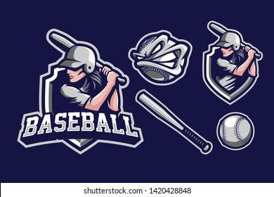 Baseball sport style mascot logo design with additional baseball tool isolated on navy blue background