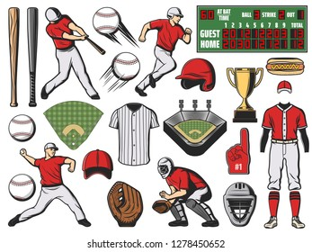 Baseball sport team players and softball game items. Bats, balls and base, trophy cup, stadium field and pitcher glove, batter uniform cap, helmet and jersey, homeplate and scoreboard vector icons