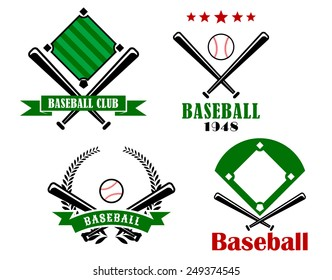 Baseball sporting emblems or badges with crossed bats, two with pitches and text and one with a ball and stars, the other with a ball, banner and wreath