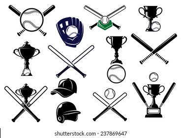 Baseball sports equipment elements for sport emblems and logo design with bats, gloves, balls, helmet, cap and trophies