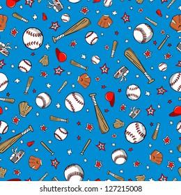 Baseball Sports Seamless Pattern Vector