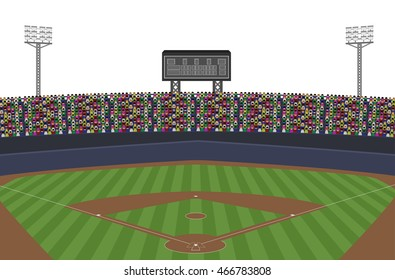 Baseball Stadium With Crowd on Grandstand. Isolated on white background Vector