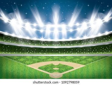 Baseball Stadium with Neon Lights. Arena. Vector Illustration.