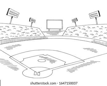 Baseball stadium sport graphic black white sketch illustration vector