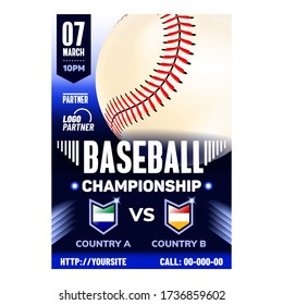 Baseball Stadium Sport League Flyer Banner Vector. World Baseball Softball Confederation, Gaming White Ball Stitched Red Cord. Active Recreational Sportive Game. Concept Template Illustration