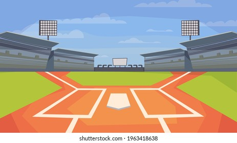 Baseball stadium view, banner in flat cartoon design. Sports center field for game, base, spotlights, stands with seats for spectators. Competitions concept. Vector illustration of web background