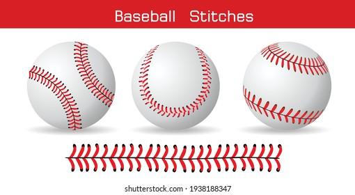 白い背景に野球のステッチ、ベクター画像デザイン