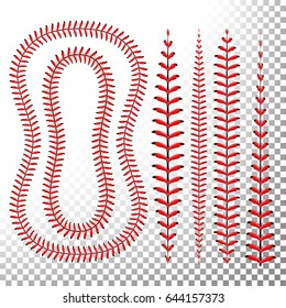 Baseball Stitches Vector Set. Baseball Stitch Red Lace Isolated On Transparent Background. Softball Clipart. Seam Baseball Ball, Seam Of Red Thread Illustration