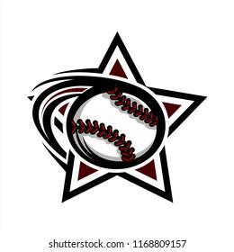 Baseball Swoosh Star Logo
