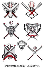 Baseball symbols and logo depicting balls, crossed bats, masks and field in traditional red, white colors decorated heraldic shields and tribal ornaments