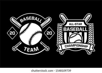 baseball team championship badge logo emblem template collection black and white