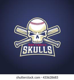 Baseball Team Logo Template. Skull and Crossed Bats Sign. Dark Blue Background.