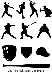 Baseball team silhouettes. Check out my portfolio for similar images.