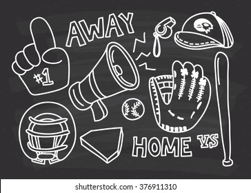 baseball themed doodle on chalkboard  background