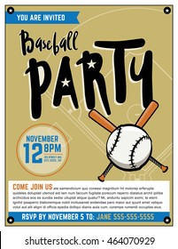 A baseball themed party invitation template. Vector EPS file is layered.