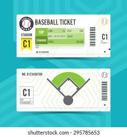 Baseball Ticket Card modern element design