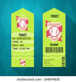 Baseball Ticket Design Template Retro Style
