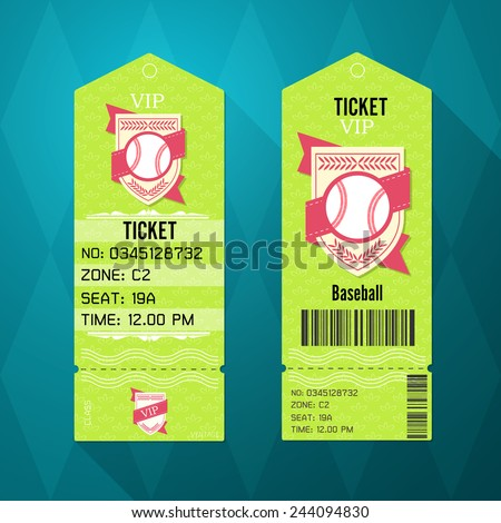 Baseball Ticket Design Template Retro Style Stock Vector Royalty