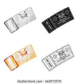 Baseball Ticket. Baseball single icon in cartoon style vector symbol stock illustration web.