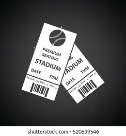 Baseball tickets icon. Black background with white. Vector illustration.