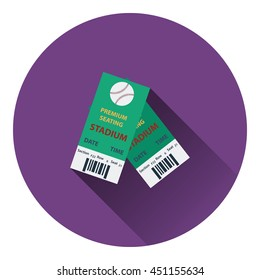 Baseball tickets icon. Flat color design. Vector illustration.