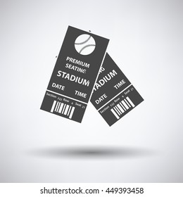 Baseball tickets icon on gray background, round shadow. Vector illustration.