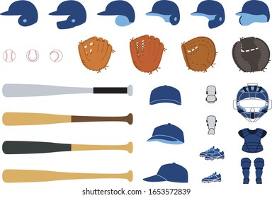 baseball tools vector illust set