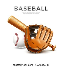 Baseball tournament flyer, poster template. Realistic baseball bat, leather glove and ball for championship promotion, betting poster vector design. Team sport league banner.