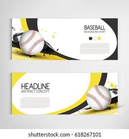 Baseball tournament, modern sports banner vector design.