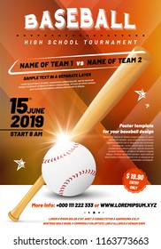 Baseball tournament poster template with ball and bat - sample text in separate layer. Vector illustration.