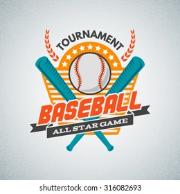 Baseball tournament professional label, logo, badge.  Business sign template, icon, identity design element.