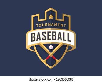 Baseball tournament sport logo template. Modern vector illustration. Badge design.