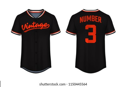 Baseball t-shirt design template, Sport jersey mockup. uniform front and back view.