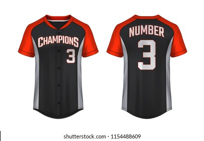 Baseball t-shirt design template, Sport jersey mockup. uniform front and back view.