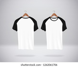 Baseball T-Shirts Mock-up clothes hanging isolated on wall, blank front and rear side view.