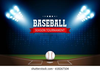 Baseball under stadium lights on grass vector design.