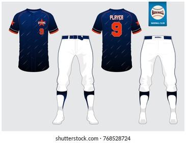 Baseball uniform, sport jersey, raglan t-shirt sport, short, sock template. Baseball t-shirt mock up. Front and back view sport uniform. Flat baseball logo on blue label. Vector Illustration.