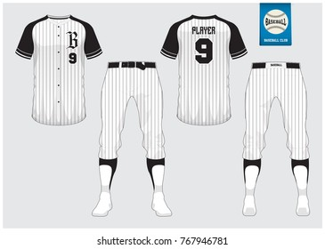 Baseball uniform, sport jersey, t-shirt sport, short, sock template. Baseball t-shirt mock up. Front and back view sport uniform. Flat baseball logo on blue label. Vector Illustration.