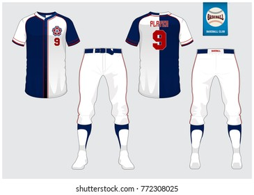 Baseball uniform, sport jersey, t-shirt sport, short, sock template. Baseball t-shirt mock up. Front and back view sport uniform. Flat baseball logo on blue label. Vector Illustration.
