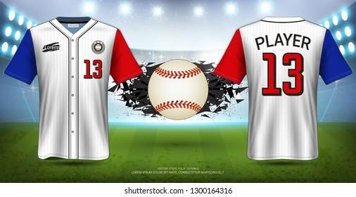 Baseball Uniforms & Jerseys, Short Sleeve Shirt Mockup, Design for Sport Poster, Banner, Flyer, Brochure or Presentations Template, Vector EPS10 fully editable, Easy Possibility to Apply Your Artwork.
