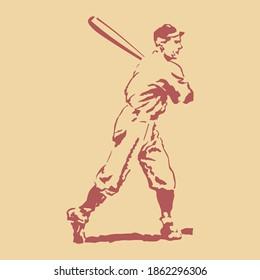 baseball vintage sport silhouette card man old art