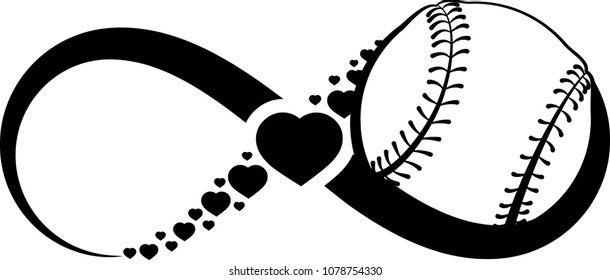 Baseball wrapped in an infinity symbol with hearts through the middle of the infinity symbol.